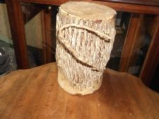 "SMALL GENUINE AFRICAN HAND MADE DOUBLE ENDED DRUM WITH LOOP HANDLE 7"" HIGH"